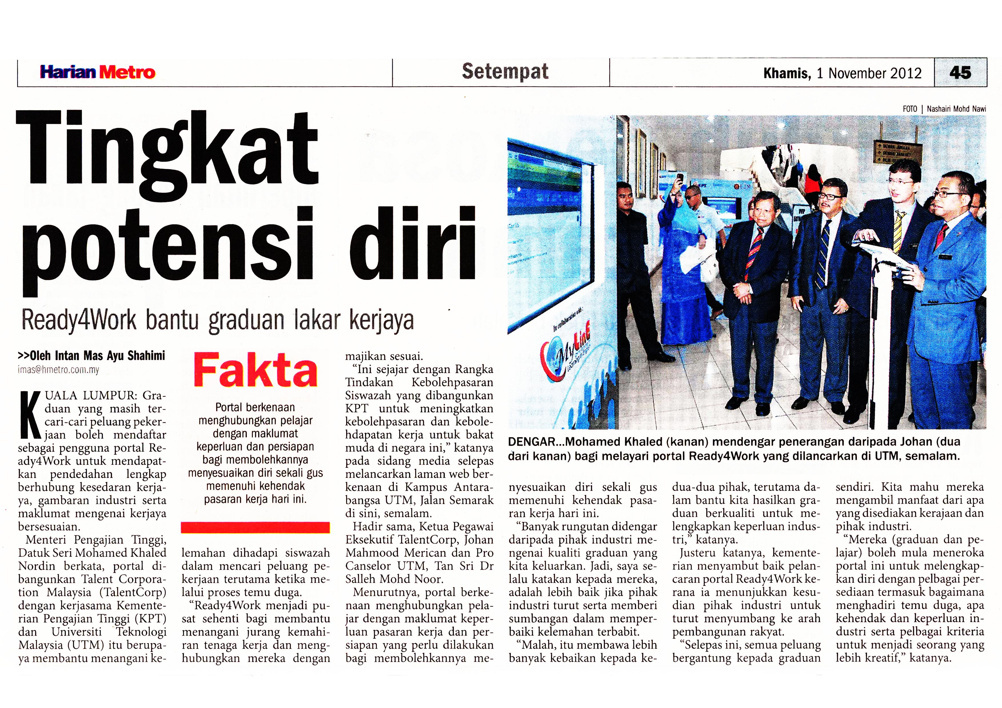 Harian Metro, 1 November 2012